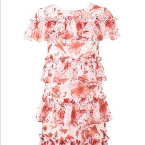 Badgley Mischka ruffle floral mini dress
